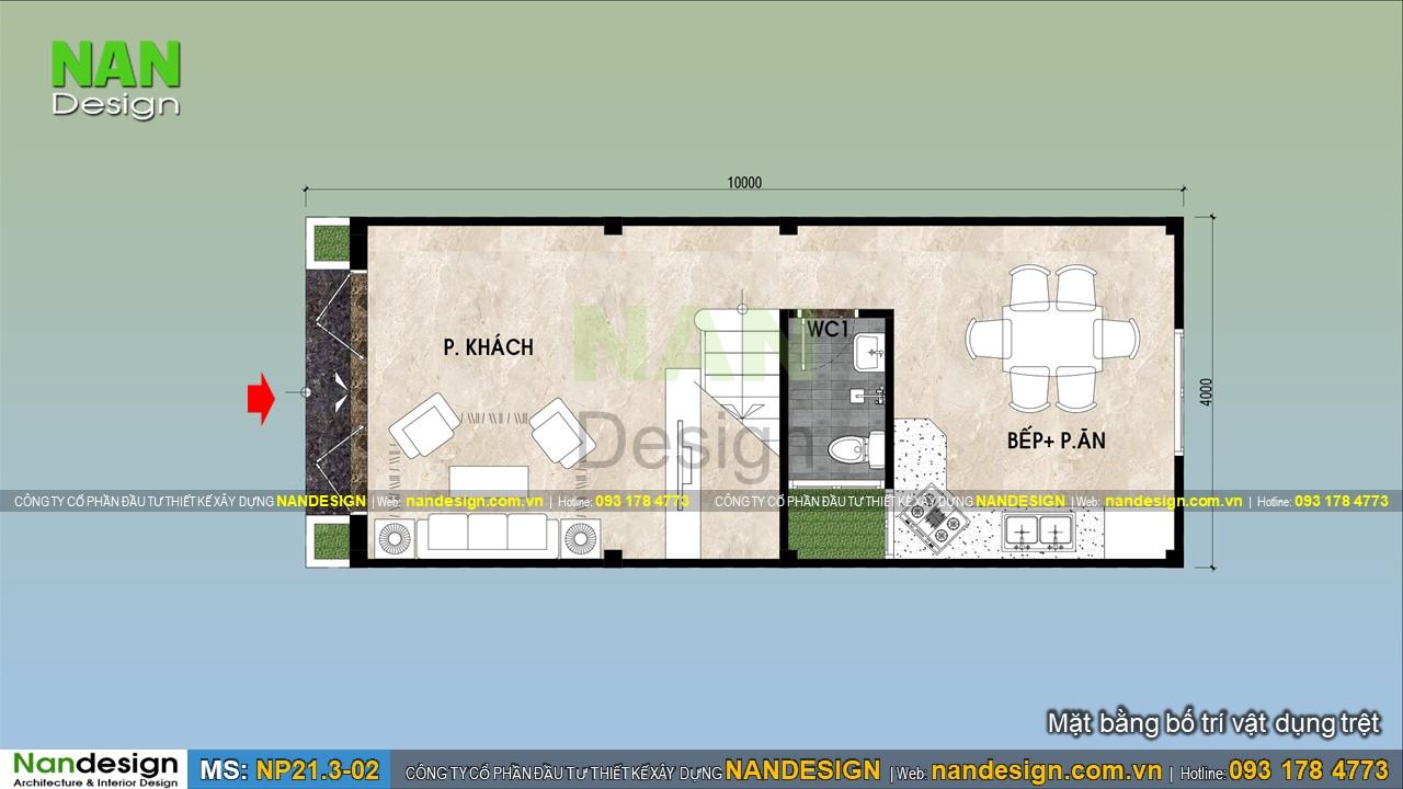 Bản Vẽ Tầng Trệt Mãu Nhà 3 Tầng 4x10m