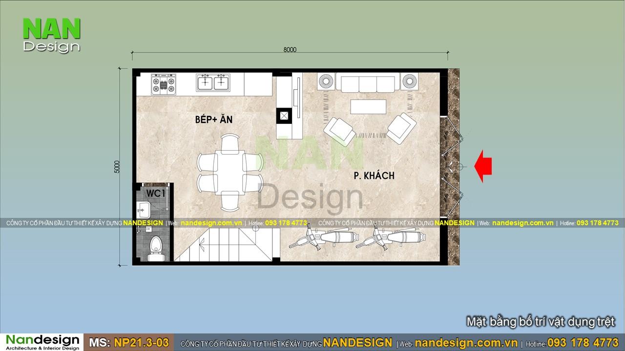 Bản Vẽ Tầng Trệt Thiết Kế Nhà 5x8m Có Phòng Khách Liên Thông Với Bếp Và Phòng Ăn