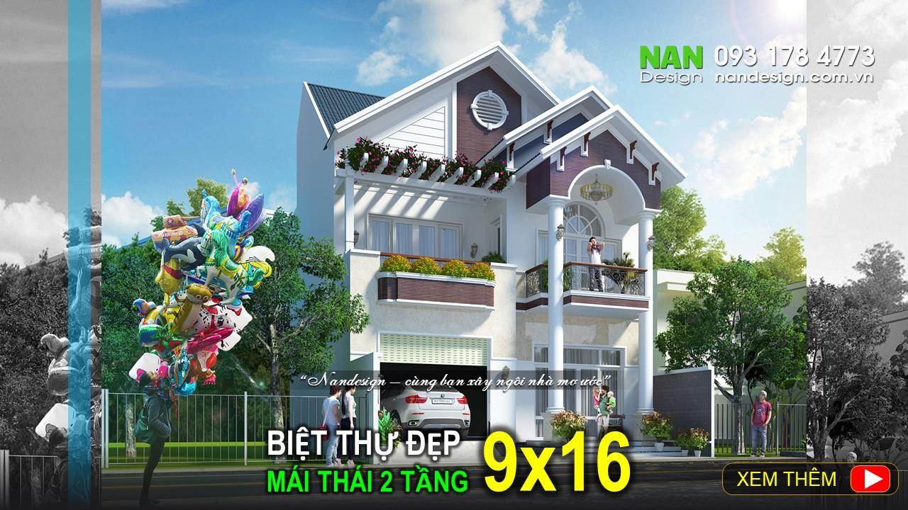 Biệt Thự Đẹp 2 Tầng 9x16m Mái Thái Hiện Đại