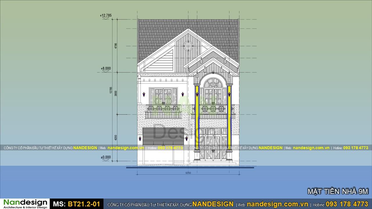 Thiết kế 2d mặt tiền nhà 9m