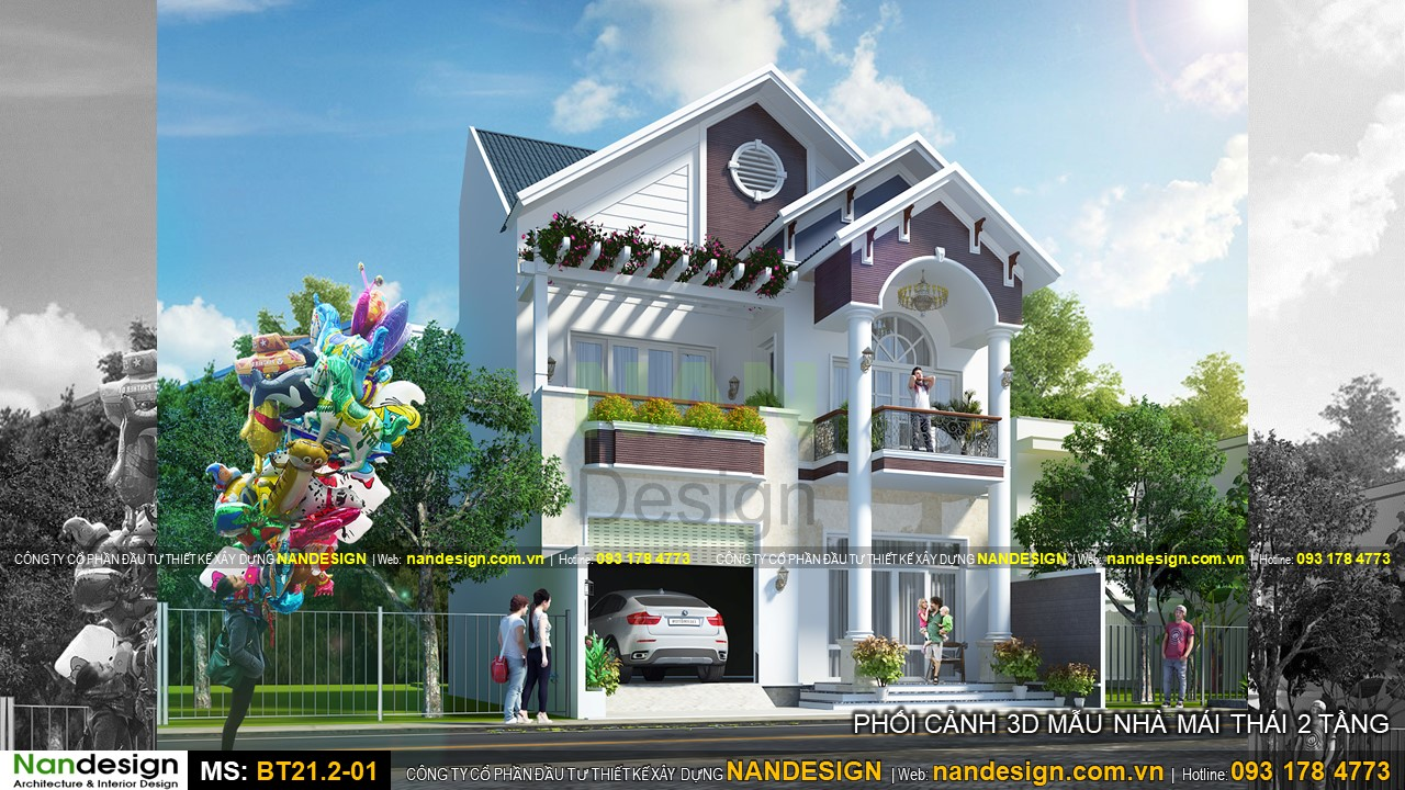 Phối cảnh 3d mẫu nhà phố 2 tầng mái thái 9x16m