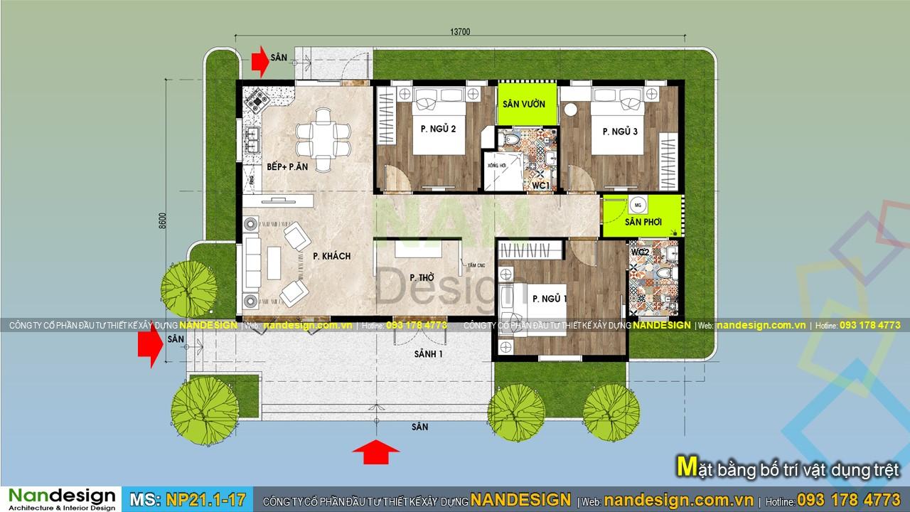 Bản vẽ mặt bằng mẫu nhà cấp 4 3 phòng ngủ 120m2 3 Phòng Ngủ 1 Thờ
