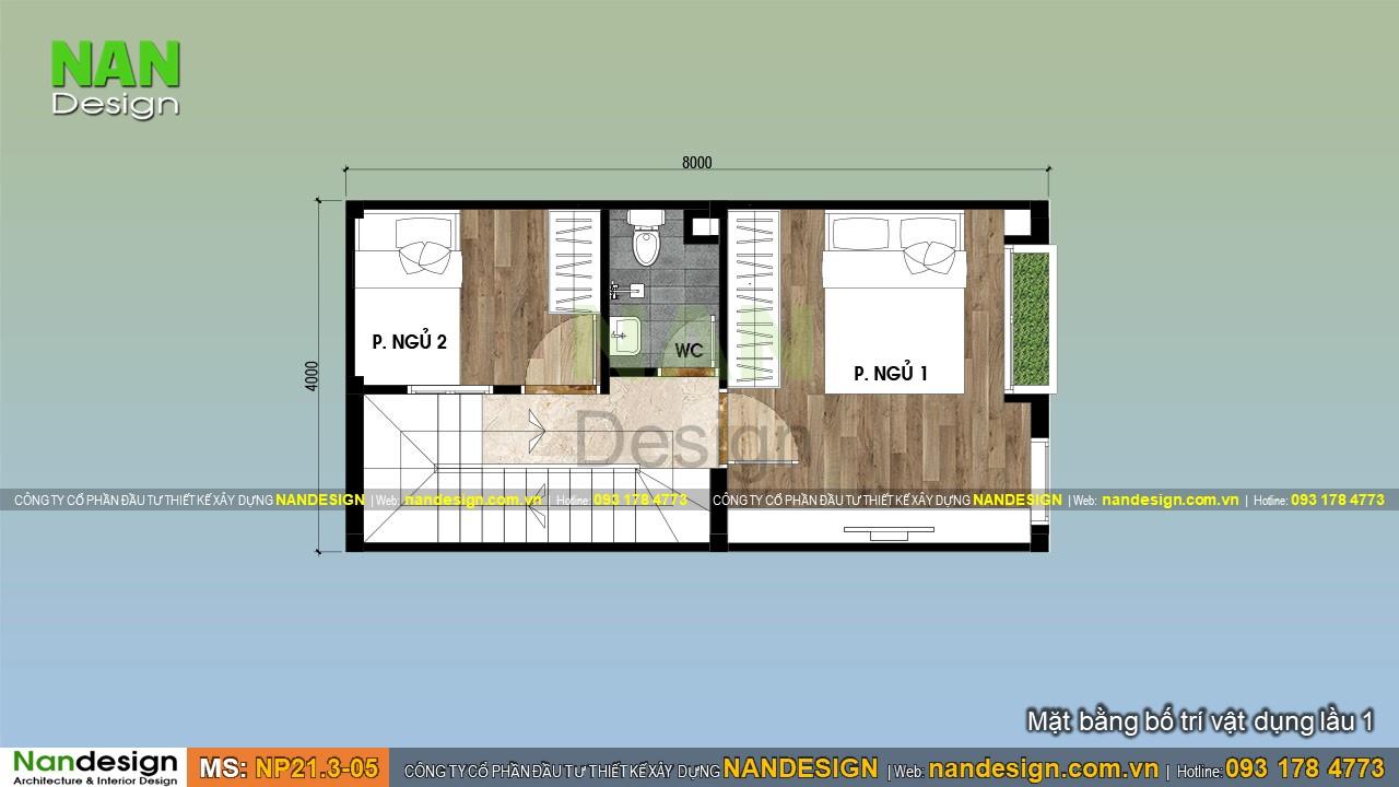Bản Vẽ Thiết kế Lầu 1 Mẫu Nhà Đẹp 3 Tầng 4x8m