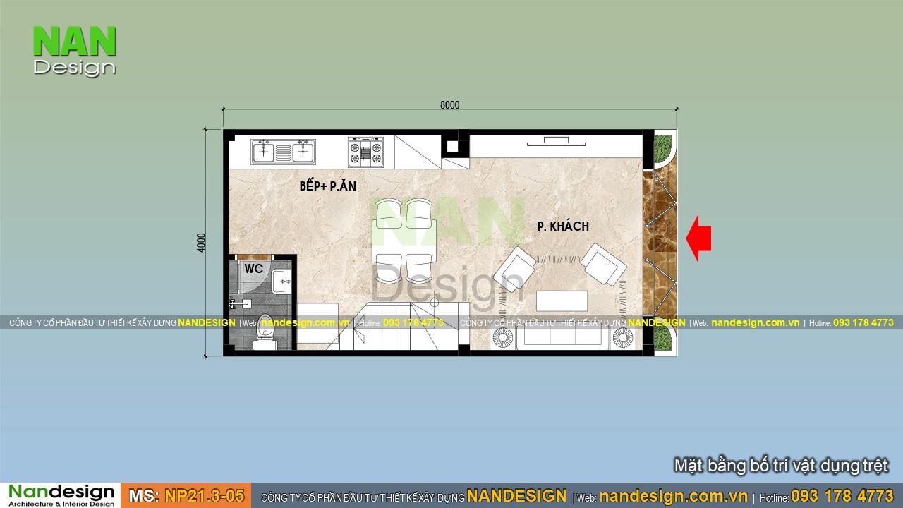 Bản Vẽ Thiết kế Tầng Trệt Mẫu Nhà Đẹp 3 Tầng 4x8m