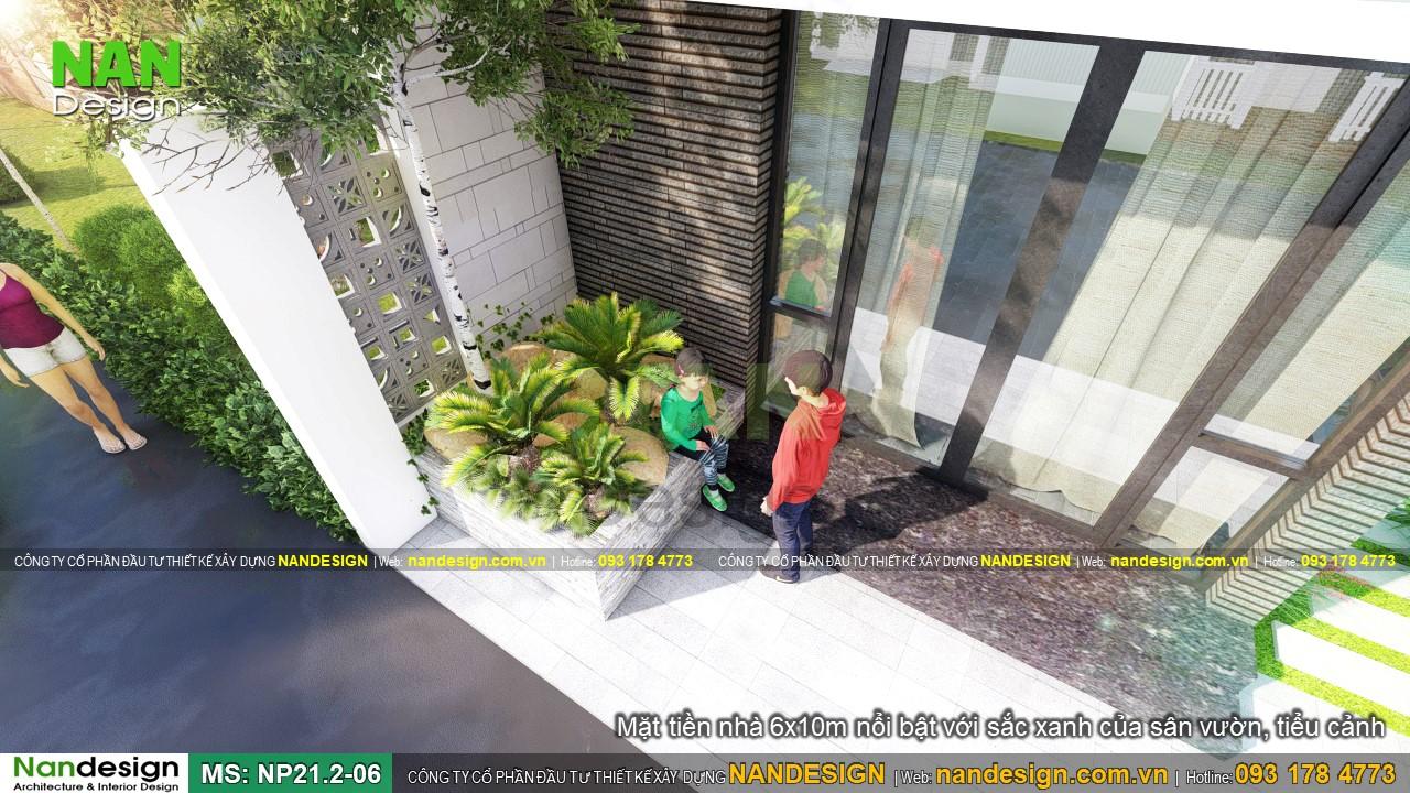 Nhà 6x10m 2 Tầng Nổi Bật Với Sắc Xanh Của Tiều Cảnh Và Sân Vườn