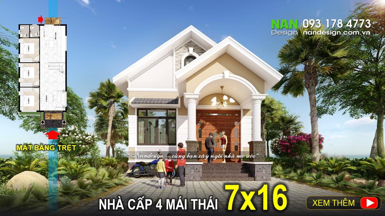 Nhà Cấp 4 7x16 Mái Thái Đẹp Với 3 Phòng Ngủ