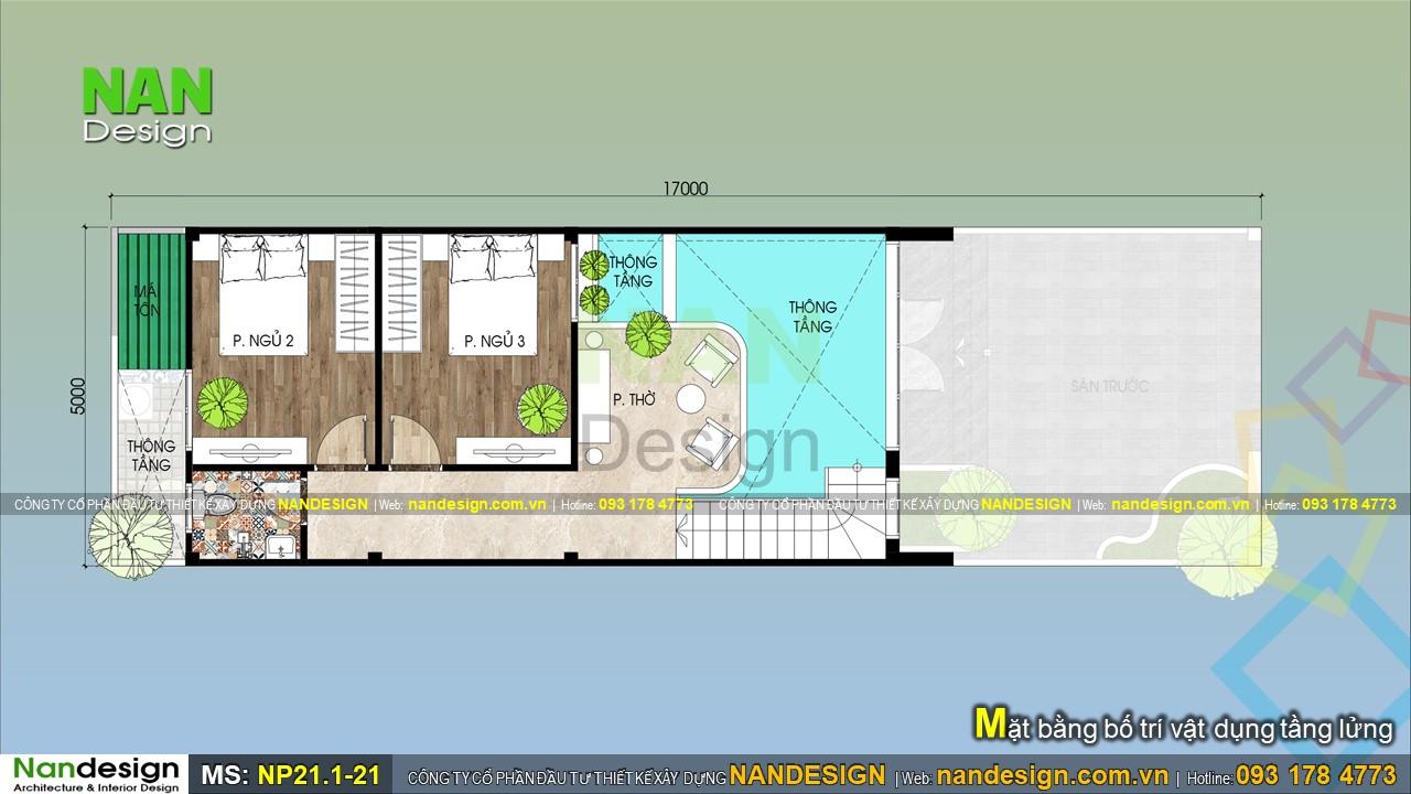 Bản Vẽ Mặt Bằng Tầng Lửng Nhà Cấp 4 Có Gác Lửng 5x17