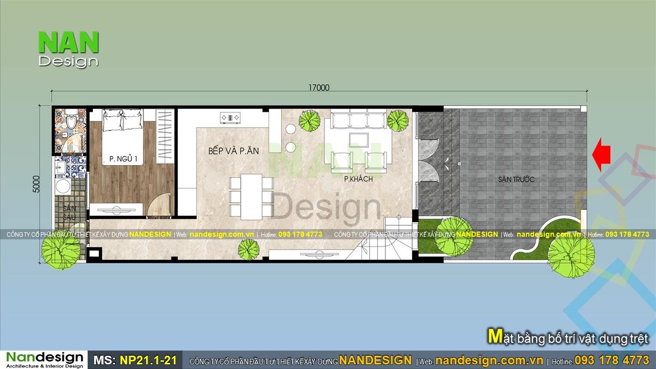Bản Vẽ Mặt Bằng Tầng Trệt Nhà Cấp 4 Có Gác Lửng 5x17
