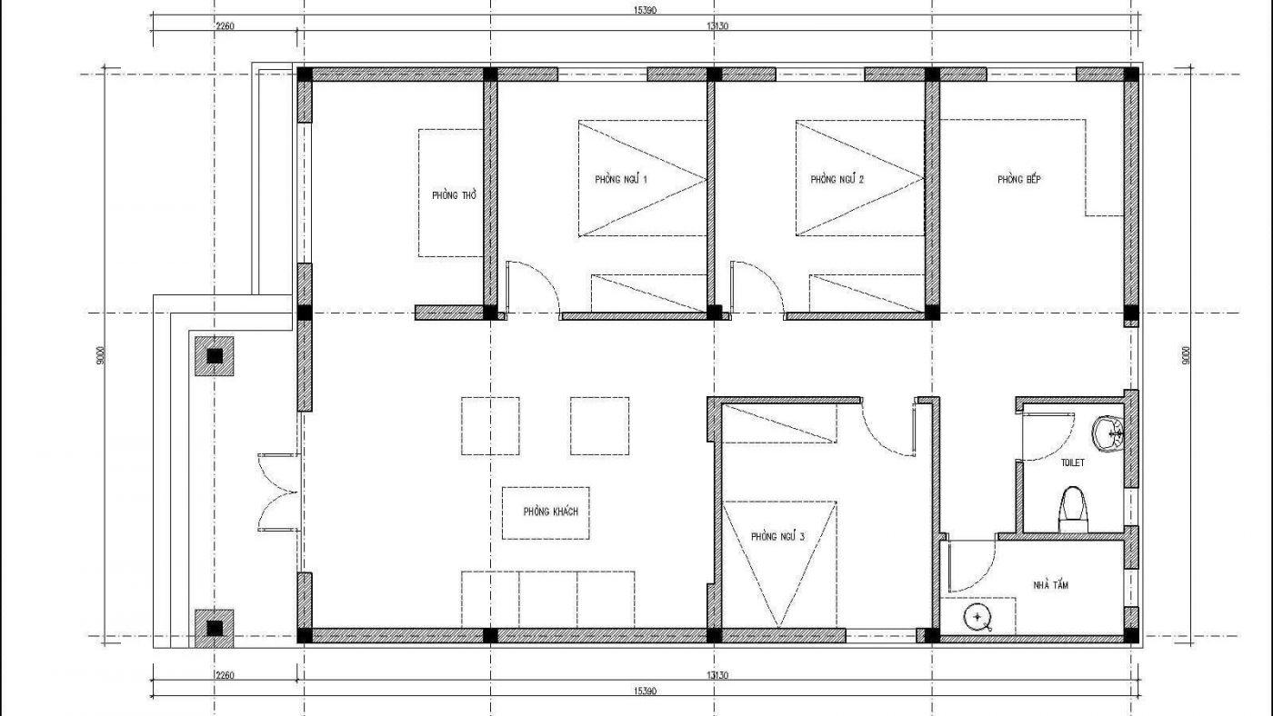Bản Vẽ Nhà Cấp 4 Mái Thái 9x15m Với 3 Phòng Ngủ Có Phòng Thờ